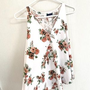 First Love White Floral Sleeveless Top